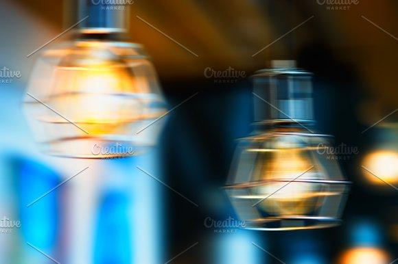Horizontal Warm Cafe Lamp Bokeh Background