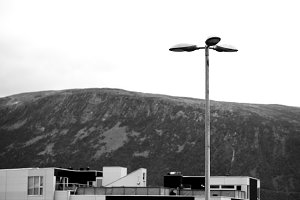 Black and white Norway airport light lamps background