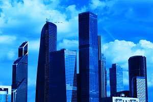 Blue Moscow city business center background