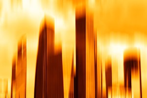Sunset motion blur skyscrapers abstract background