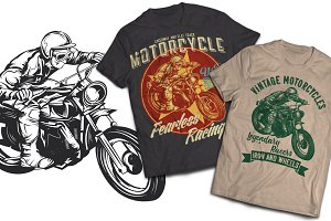 Motorcycle T-shirt And Poster Labels