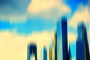 Motion blur skyscrapers abstract background