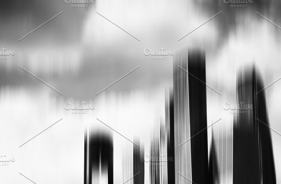 Black And White Motion Blur Skyscrapers Abstract Background