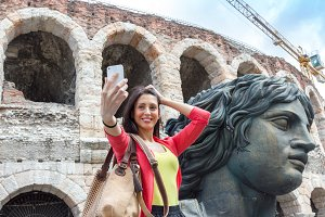 Young woman making selfie