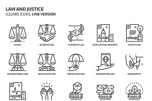 Law and justice, square icons