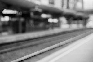 Diagonal black and white Oslo train station background