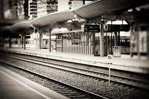 Oslo railroad transport station sepia background