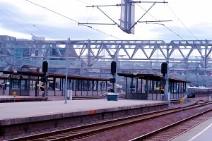 Oslo railroad transport station background