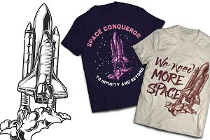 Spaceship T-shirt And Poster Labels