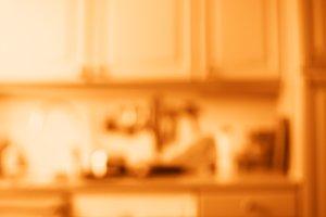 Horizontal orange kitchen bokeh background