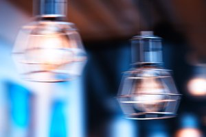 Horizontal cold cafe lamp bokeh background