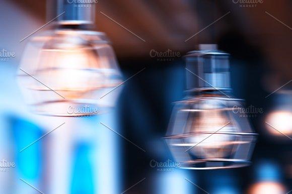 Horizontal Cold Cafe Lamp Bokeh Background