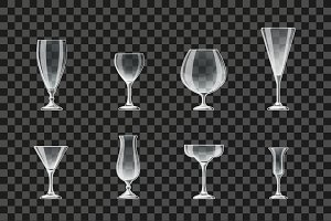 Glasses and goblets vector icons