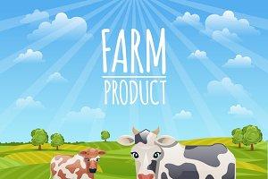 Farm landscape with cows