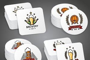 Beverage coaster with beer labels