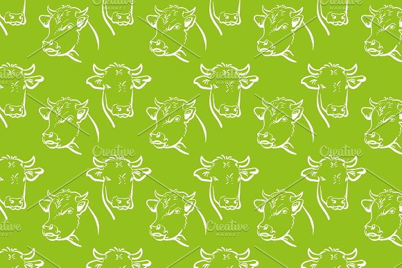 Cow Green Background