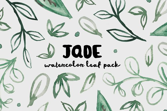 Jade Watercolor Leaf Pack