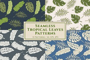 12 Seamless Tropical Leaves Patterns