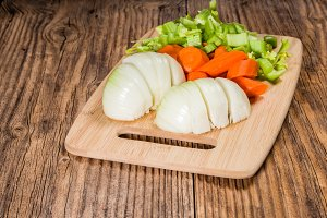 Vegetable mirepoix on a cutting board