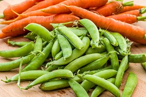 Fresh peas and carrots from the garden