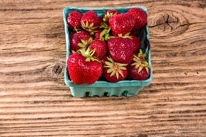 Small basket of fresh strawberries
