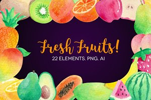 Watercolor Fruits Clip Art