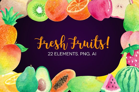 Watercolor Fruits Clip Art-Graphicriver中文最全的素材分享平台