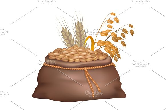 Rye Grains In Brown Sack With Its And Oat Ears
