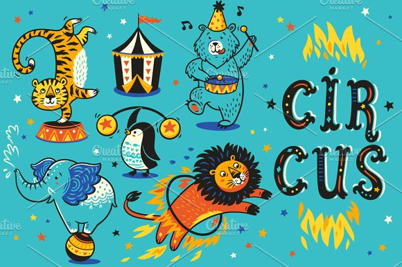 Circus Patterns Birthday Cards