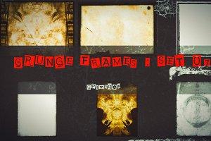 6 Grunge textured retro style frames