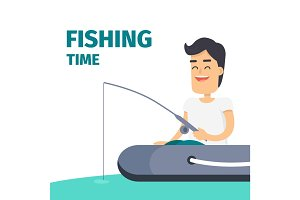 Fishing Time Vector Concept with Fisherman on Boat