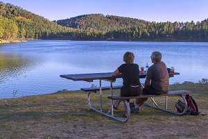 Relaxing couple At Lake