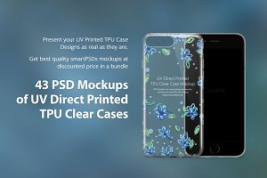 43 Mockups Bundle of UV TPU Clear