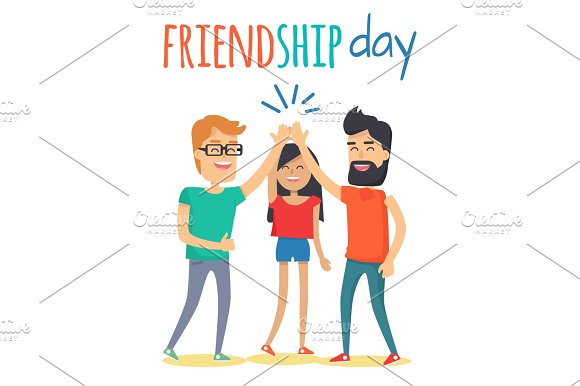 Friends Celebrating Friendship Day Vector Concept