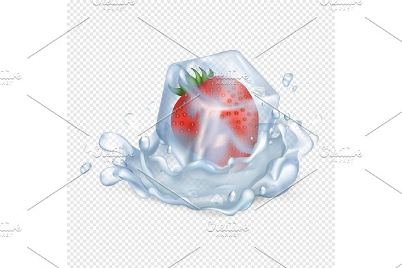 Strawberry In Ice Cube And In Water Illustration