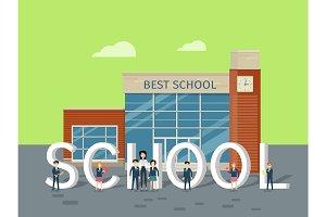 Best School Flat Style Vector Concept