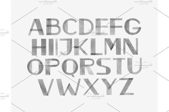 Watercolor Aquarelle Font Type Handwritten Hand Draw Abc Alphabet