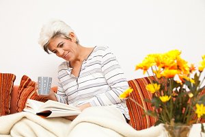 Happy Mature Lady Relaxing