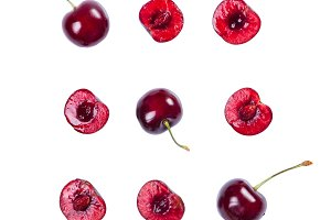 Cherry pattern isolated on white
