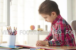 kid boy look and examine book with color pictures with interest and fantasy, playing miniature toys
