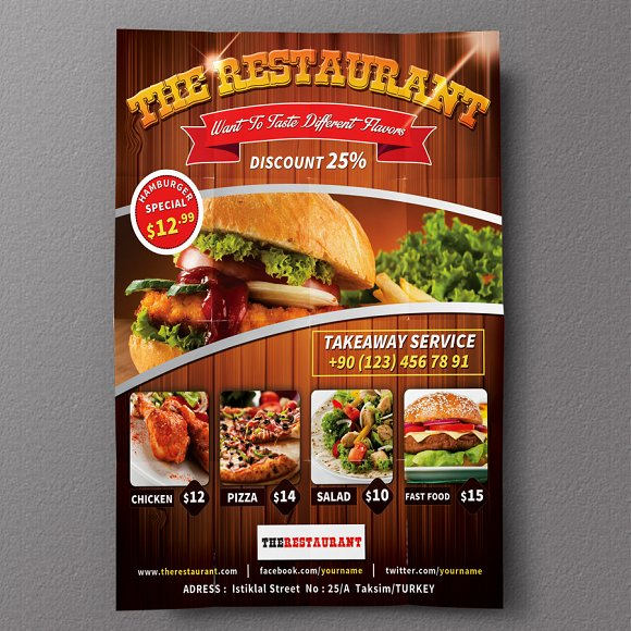 restaurant flyer 01 flyer templates creative market