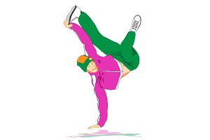 80s and 90s style street break dancer