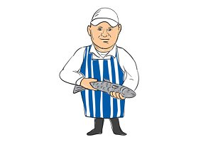Fishmonger Selling Fish Drawing