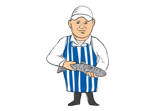 Fishmonger Selling Fish Drawing