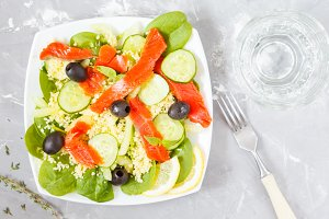 Salad with couscous, salmon