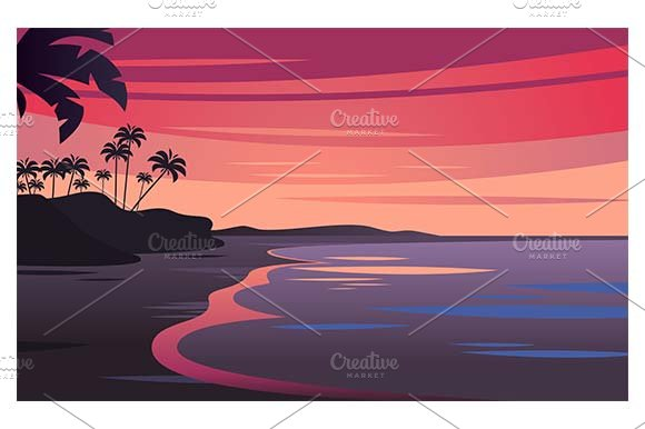 Sunset On Tropical Seascape
