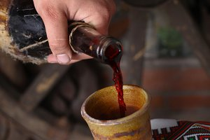 Traditional wine pouring