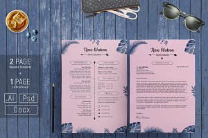Jungle Blue-Pink Resume Template