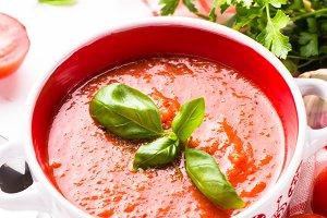 Tomato soup  on white.