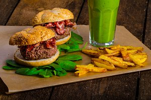 Bacon burger with chilli fries and herbs banana smoothie
